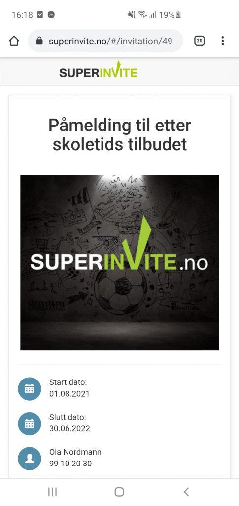 Gå rett til påmeldingssiden fra Superinvite Appen.